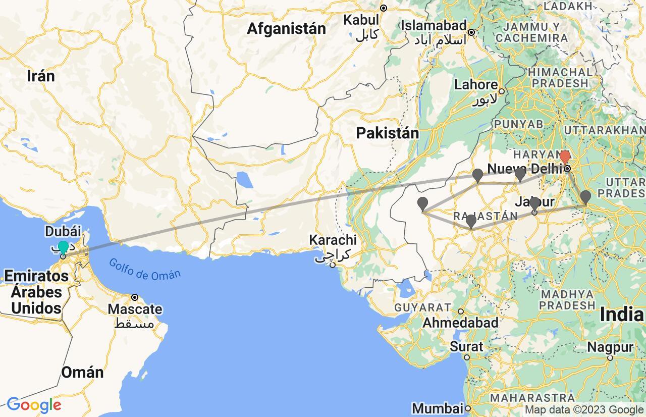 Mapa con el itinerario en Emiratos Árabes e India