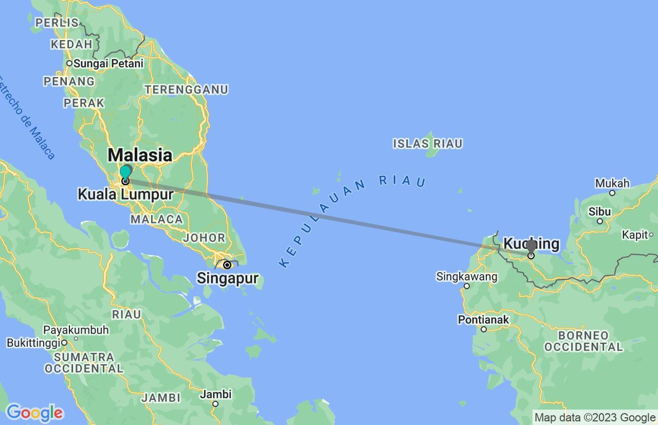 Mapa con el itinerario en Malasia y Borneo