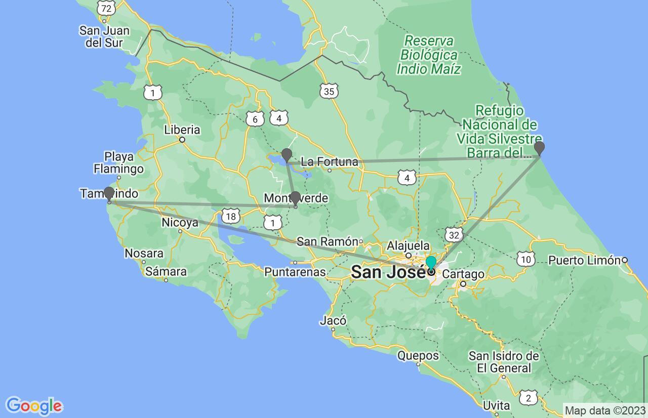 Carte avec l'itinéraire en/aux Costa Rica