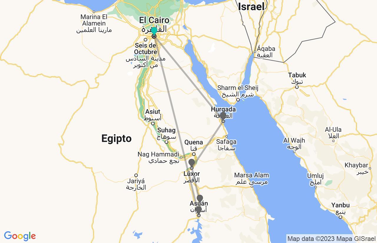 Mapa con el itinerario en Egipto