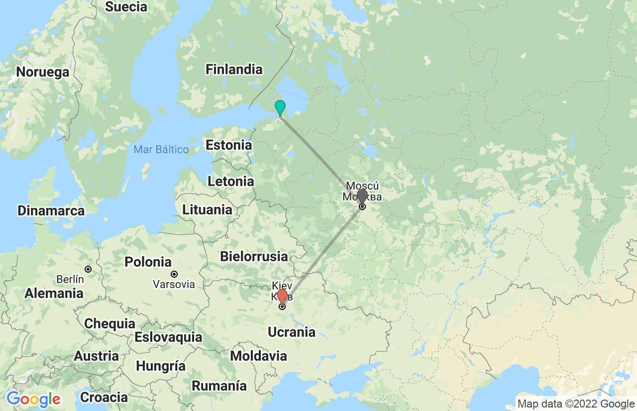 Mapa con el itinerario en Rusia y Ucrania