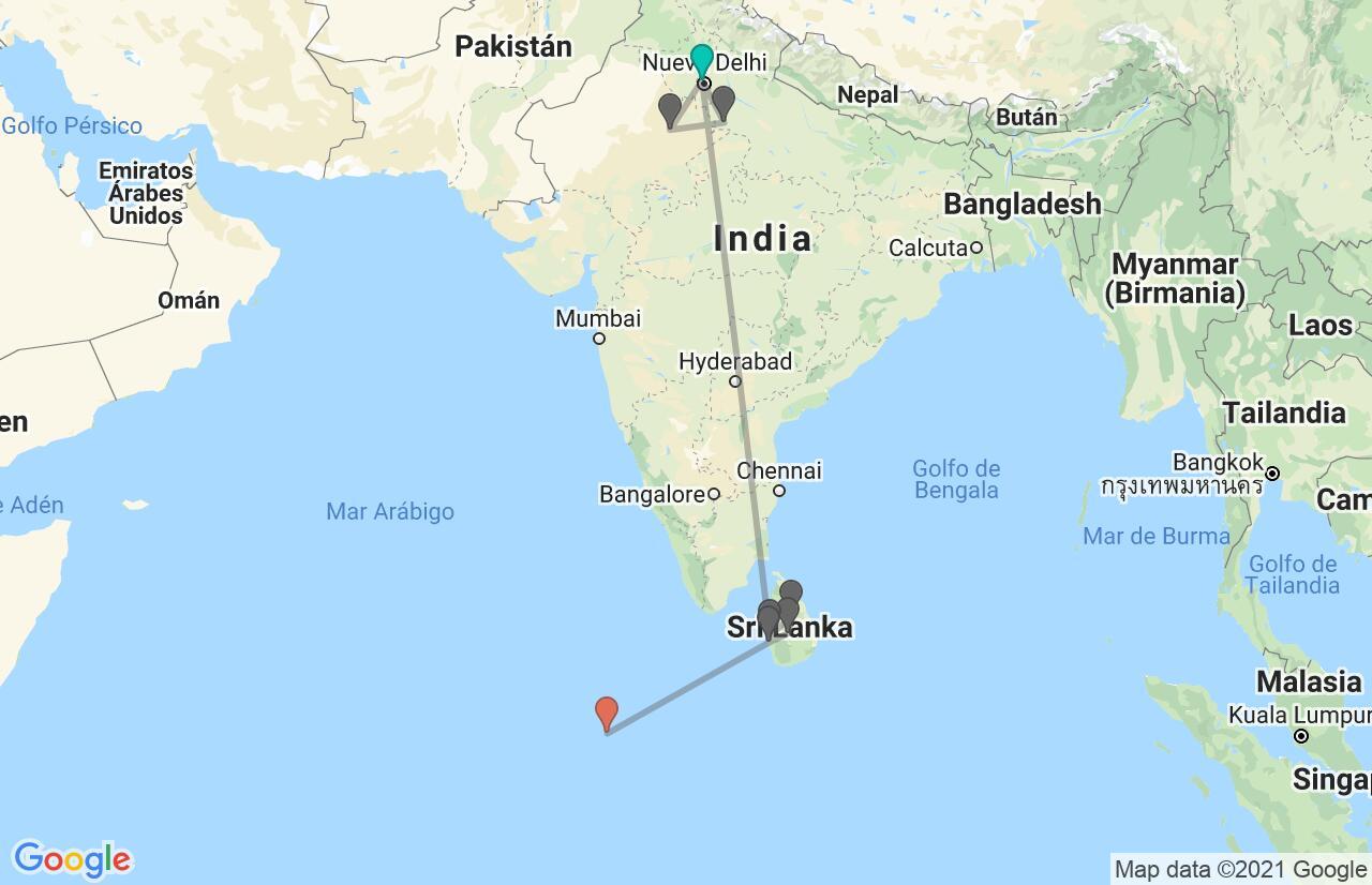 Mapa con el itinerario en India, Sri Lanka y Maldivas