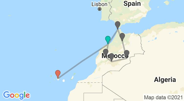Map with itinerary in Morocco & Spain