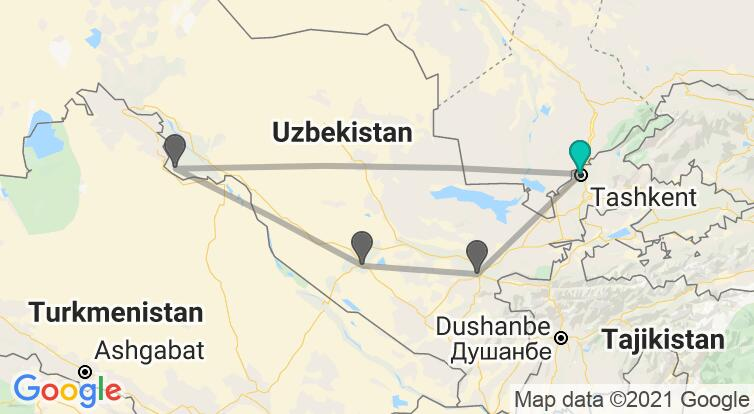 Map with itinerary in Uzbekistan