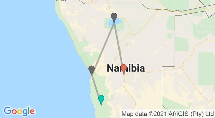 Mapa con el itinerario en Namibia