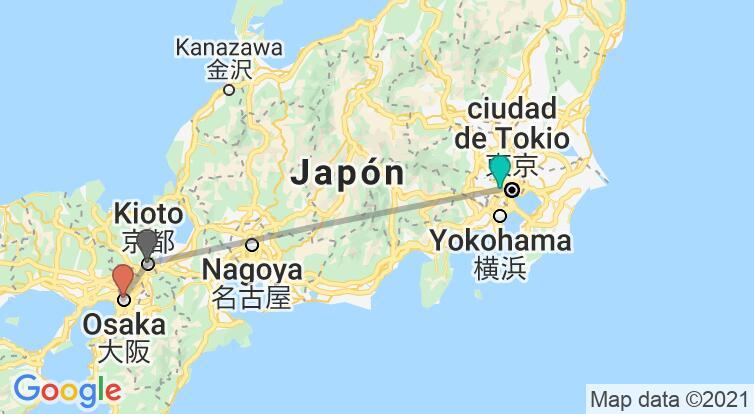Mapa con el itinerario en Japón