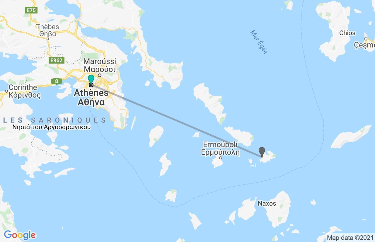 Carte avec l'itinéraire en/aux Grèce