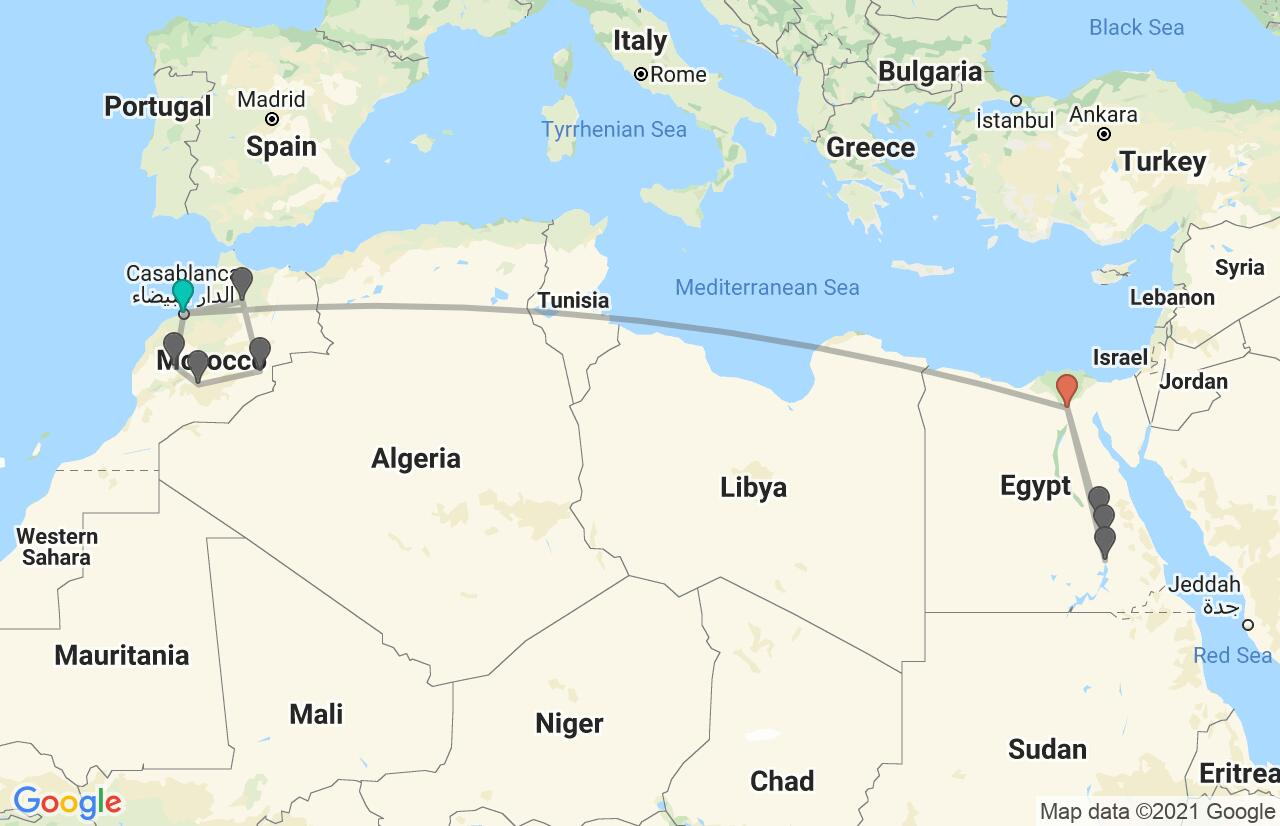 Map with itinerary in Morocco & Egypt