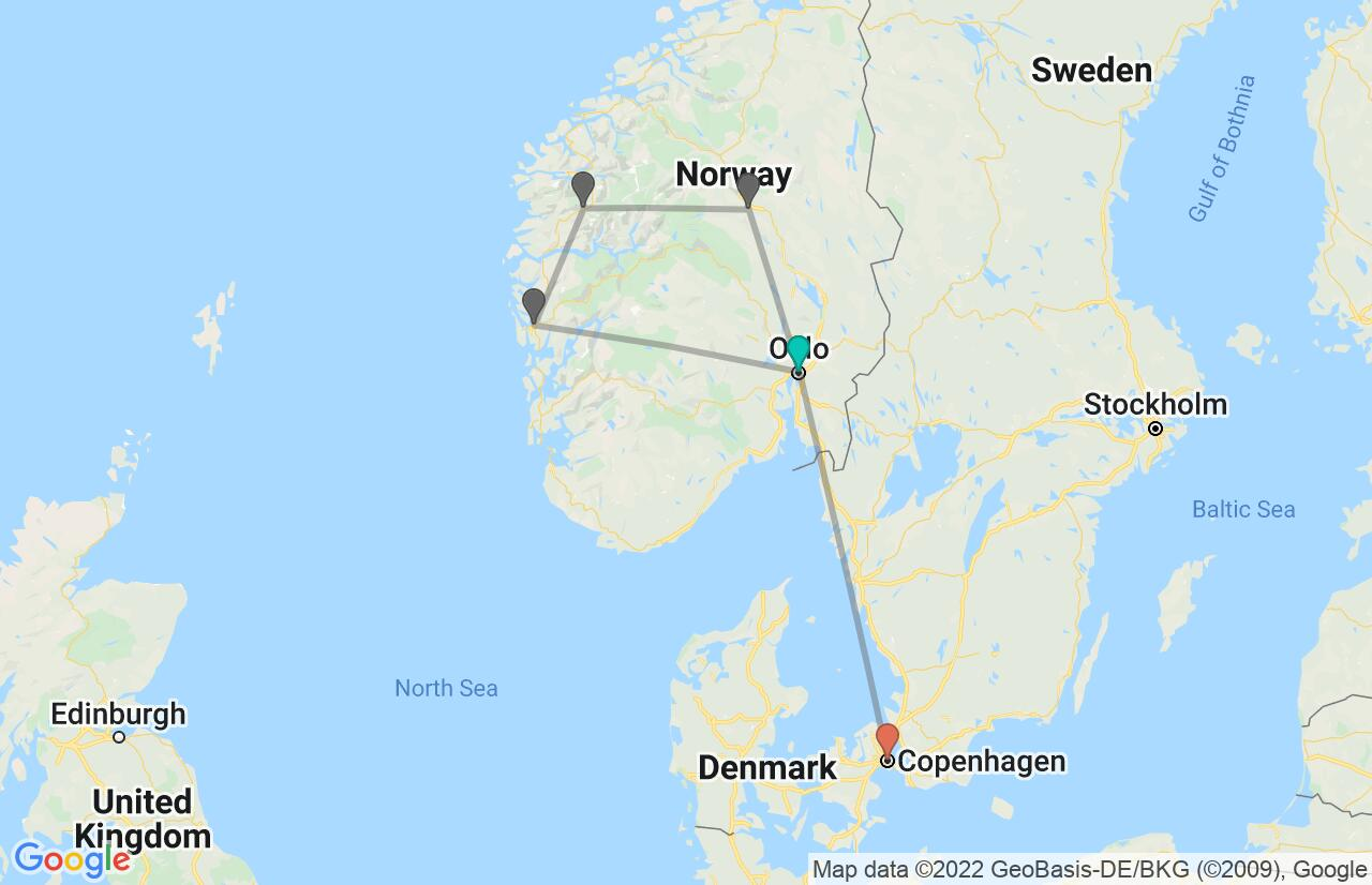 Map with itinerary in Norway and Denmark