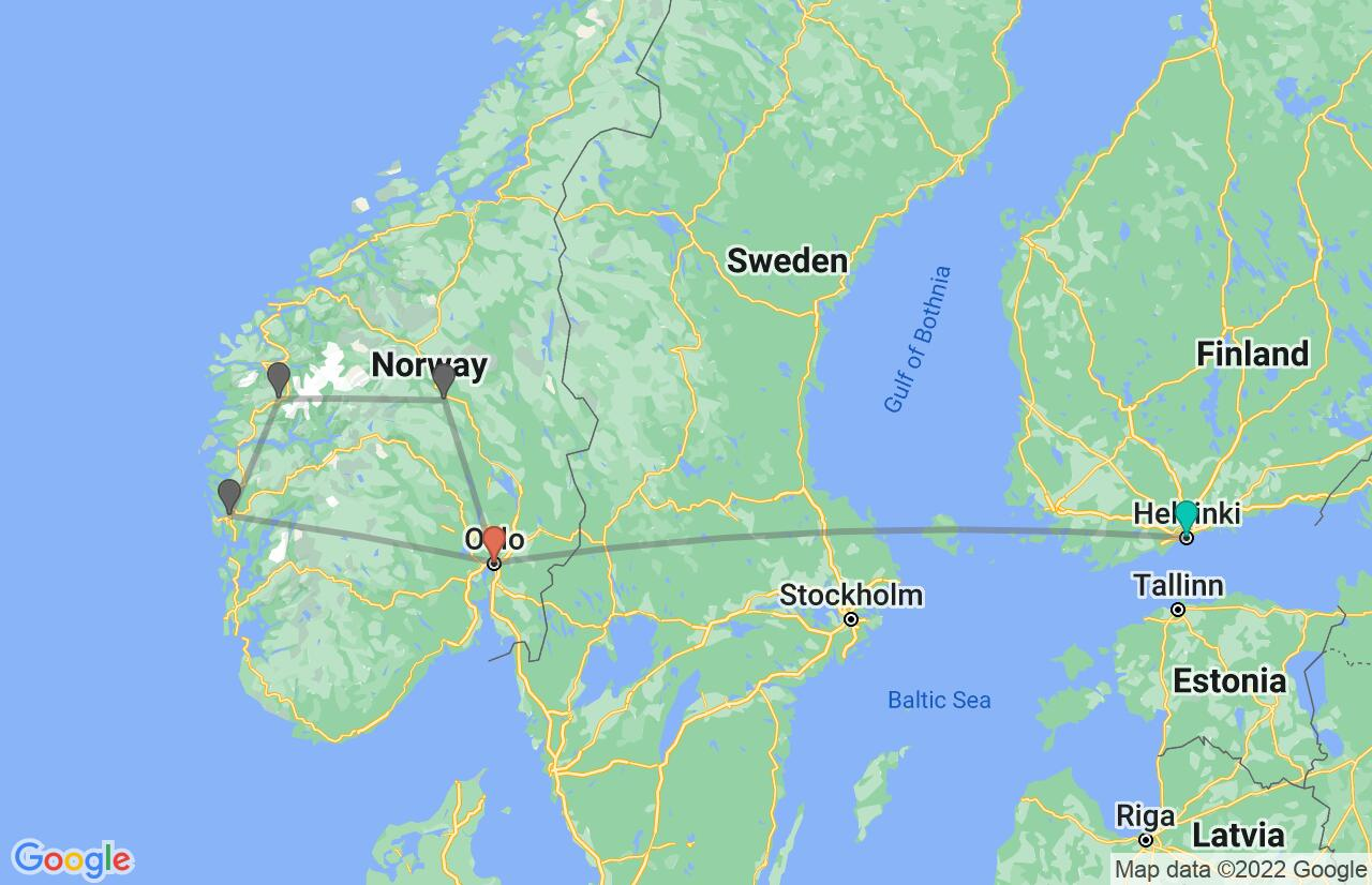 Map with itinerary in Finland & Norway