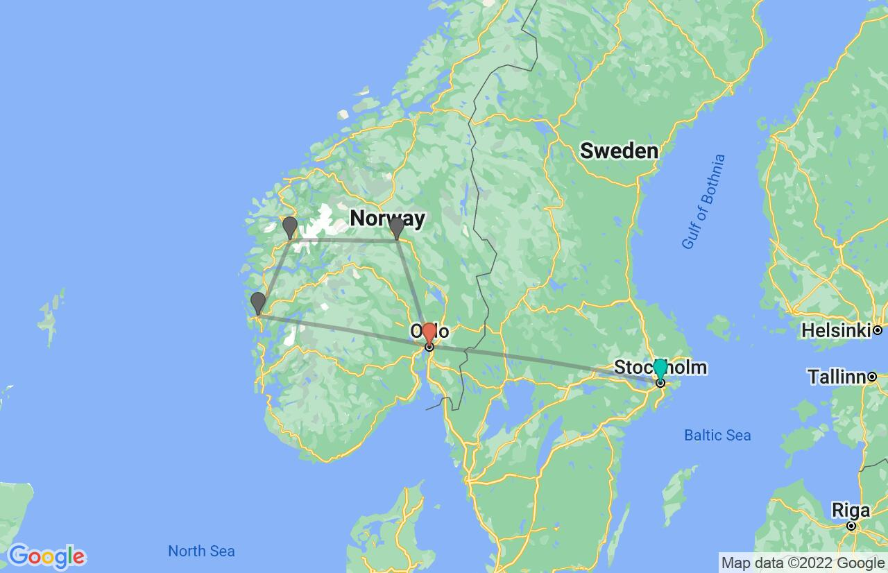 Map with itinerary in Sweden & Norway