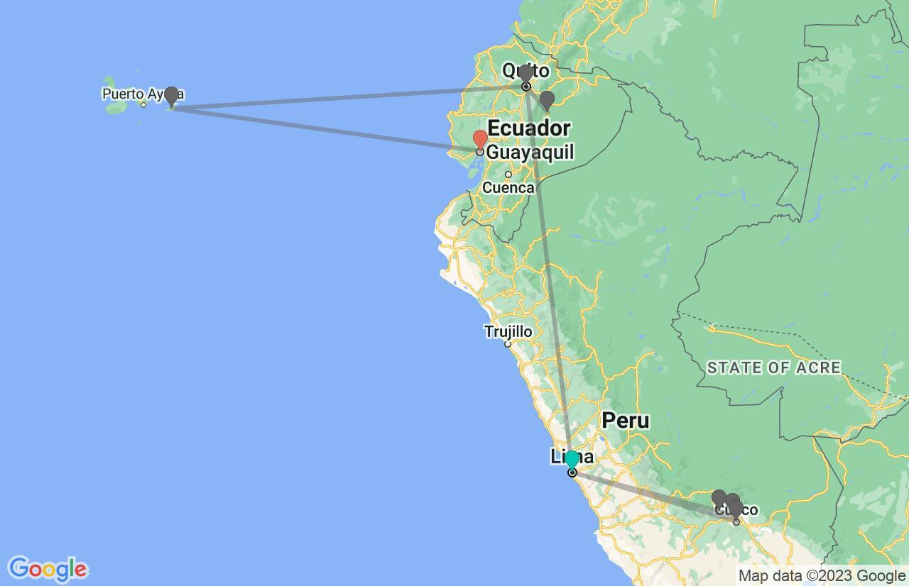 Map with itinerary in Peru & Ecuador