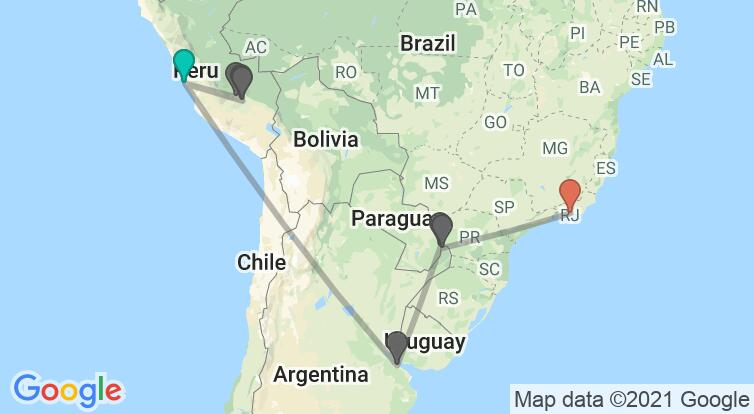 Map with itinerary in Peru, Argentina & Brazil