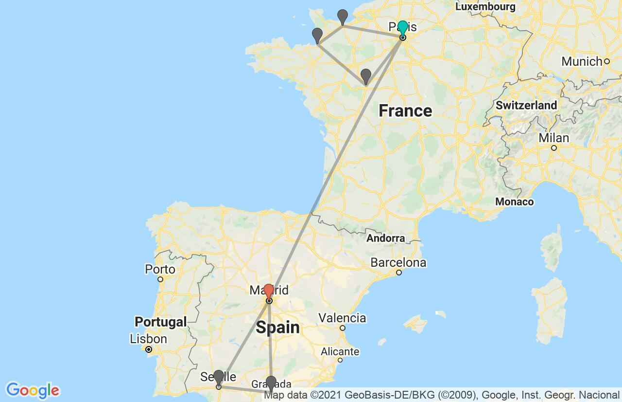 Carte avec l'itinéraire en/aux France & Spain